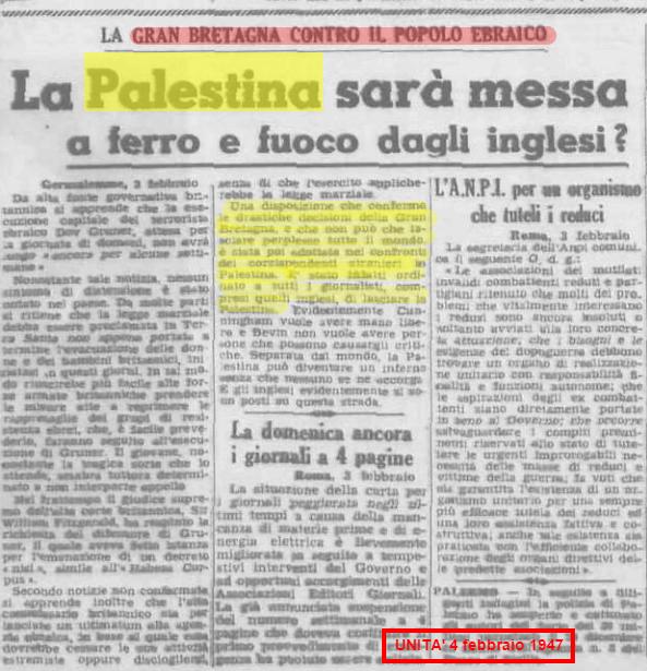 Palestina 4 febbraio 1947