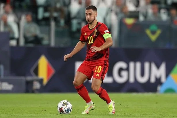 TURIN, ITALY - OCTOBER 07: Eden Hazard of Belgium during the UEFA Nations League 2021 Semi-final match between Belgium and France at Juventus Stadium on October 07, 2021 in Turin, Italy. (Photo by Jonathan Moscrop/Getty Images)