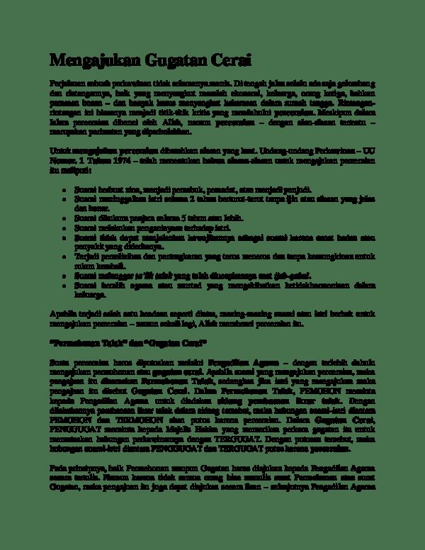 17 Contoh Surat Gugatan Cerai Yang Diajukan Oleh Istri