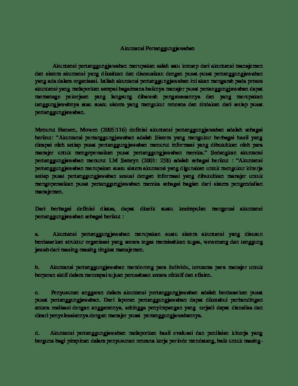 Latar Belakang Akuntansi Pertanggungjawaban