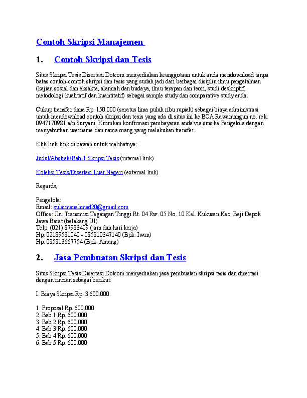 15 Contoh Skripsi Manajemen Sdm Doc