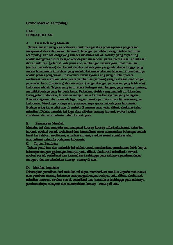 14 Contoh Makalah Karya Ilmiah Sosiologi