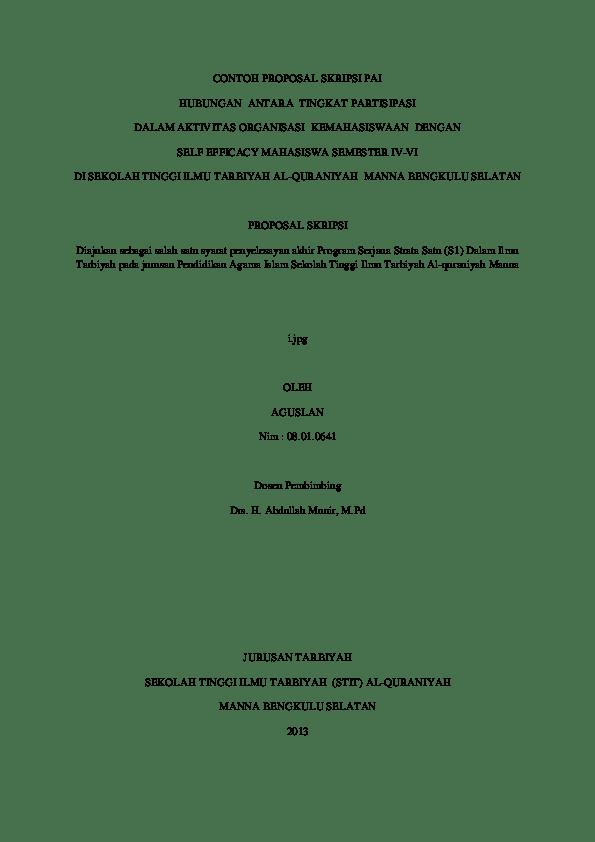 Contoh Judul Proposal Skripsi Kualitatif Pai