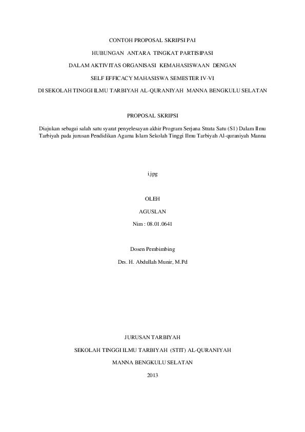 Contoh Proposal Penelitian Kuantitatif Tentang Pendidikan Agama Islam