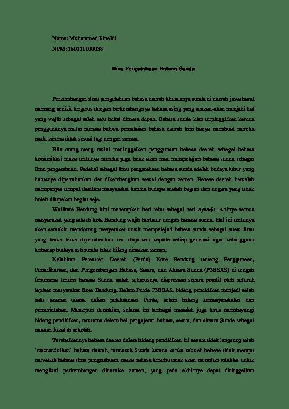 18 Contoh Saran Makalah Bahasa Sunda