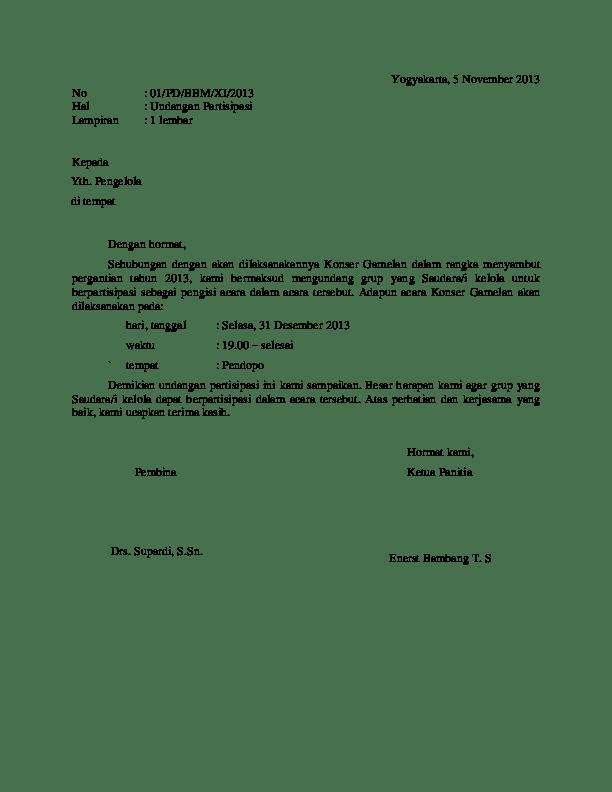 Doc Contoh Surat Undangan Partisipasi Wury Triasih Academia Edu