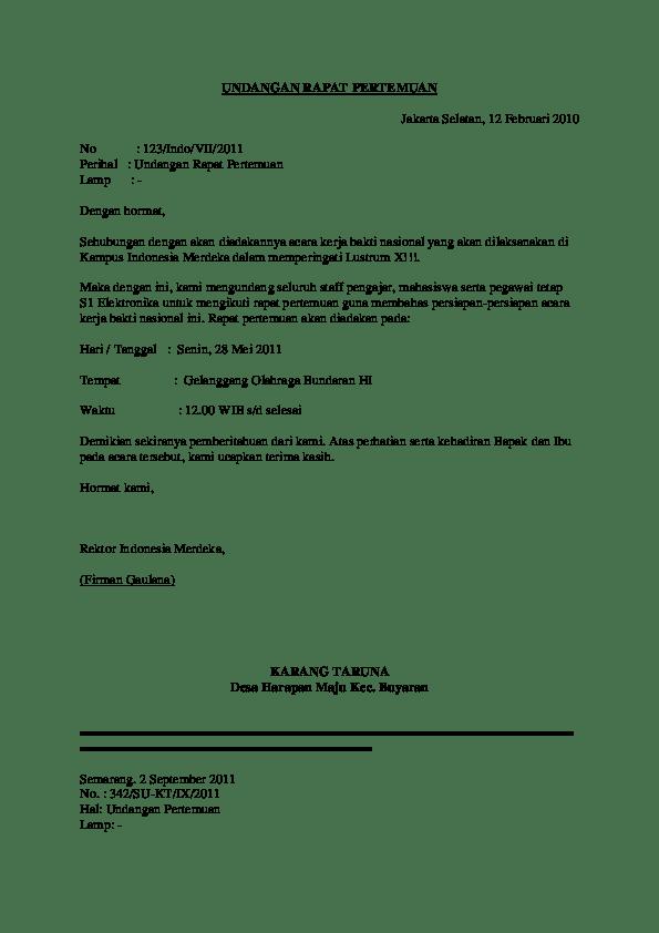 Surat Undangan Rapat Pertemuan Sariati Tudang Academia Edu
