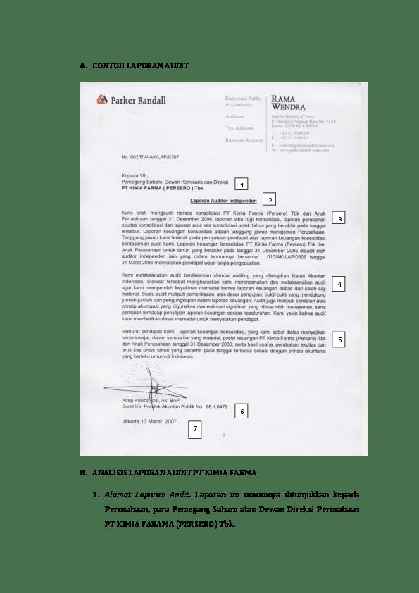 17 Contoh Kasus Laporan Audit