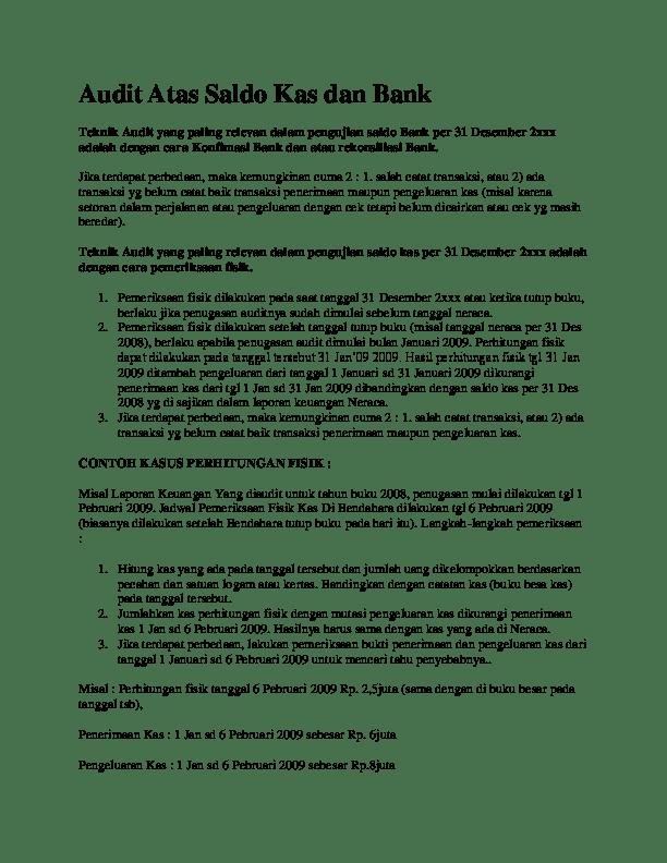 20 Contoh Kasus Audit Tentang Piutang