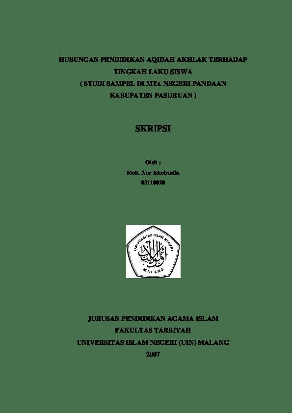 20 Judul Skripsi Pai Aqidah Akhlak