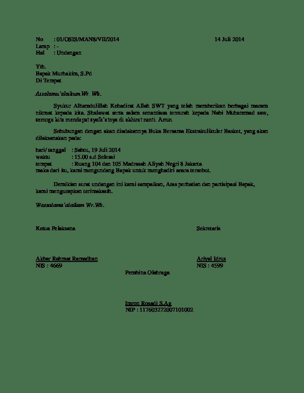 Doc Surat Undangan Guru Bukber Basket Akbar Ramadhan Academia Edu