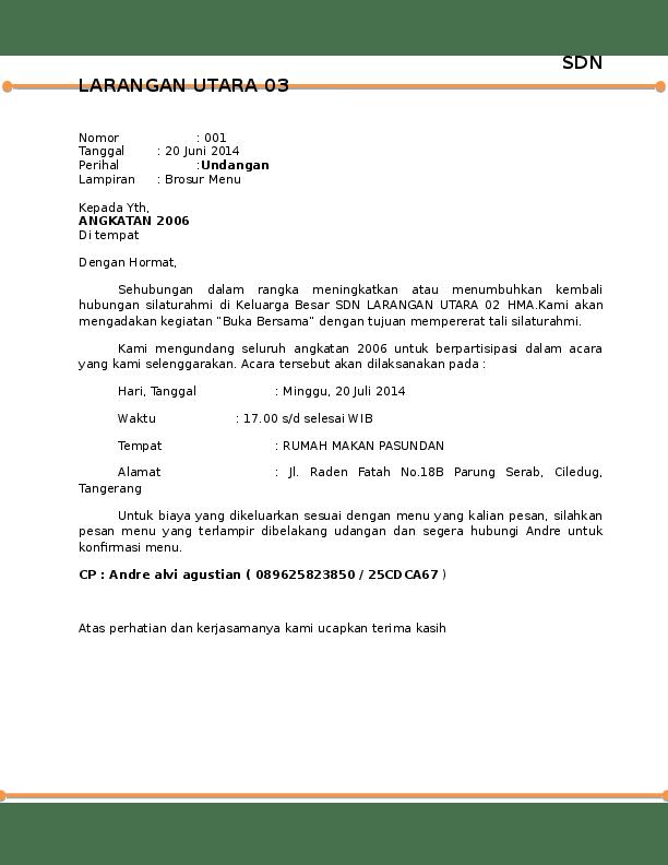 Doc Surat Undangan Bukber Andre Agustian Academia Edu
