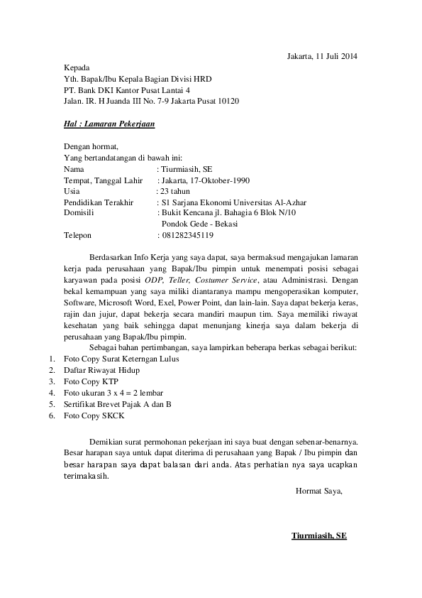Contoh Surat Lamaran Kerja Di Bank Dki Download Kumpulan Gambar