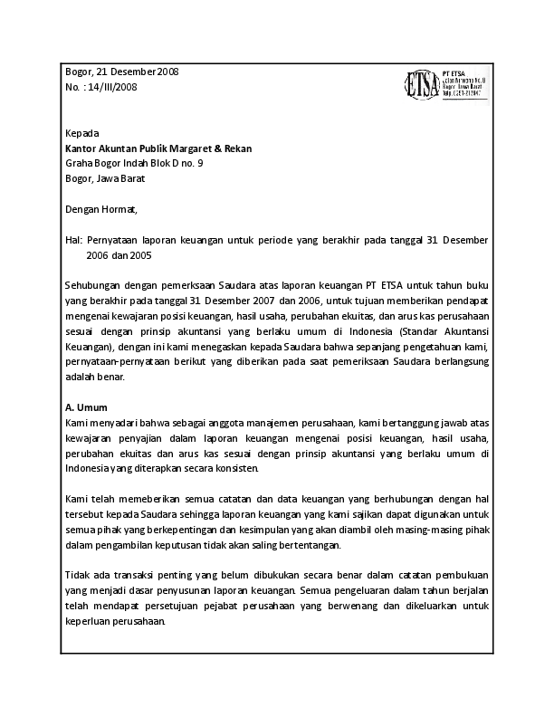 14 Contoh Surat Pernyataan Hasil Audit