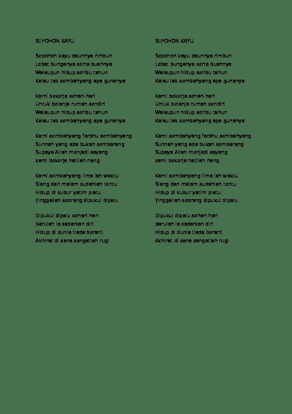 Lirik Sepohon Kayu : lirik, sepohon, Sepohon, Daunnya, Rimbun