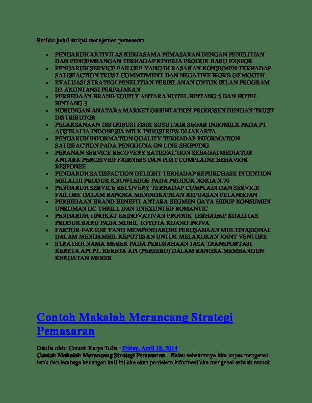 19 Jurnal Skripsi Manajemen Pemasaran Download
