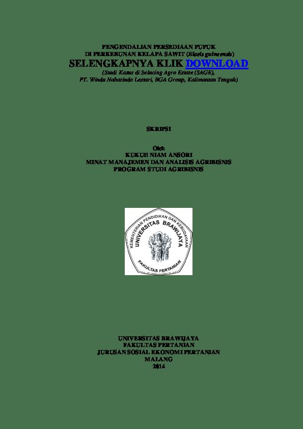 Skripsi Jurusan Agribisnis Pdf