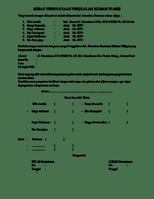 14 Contoh Surat Persetujuan Ahli Waris Penjualan Rumah