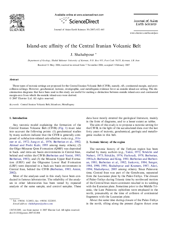 (PDF) Island-arc affinity of the Central Iranian Volcanic ...