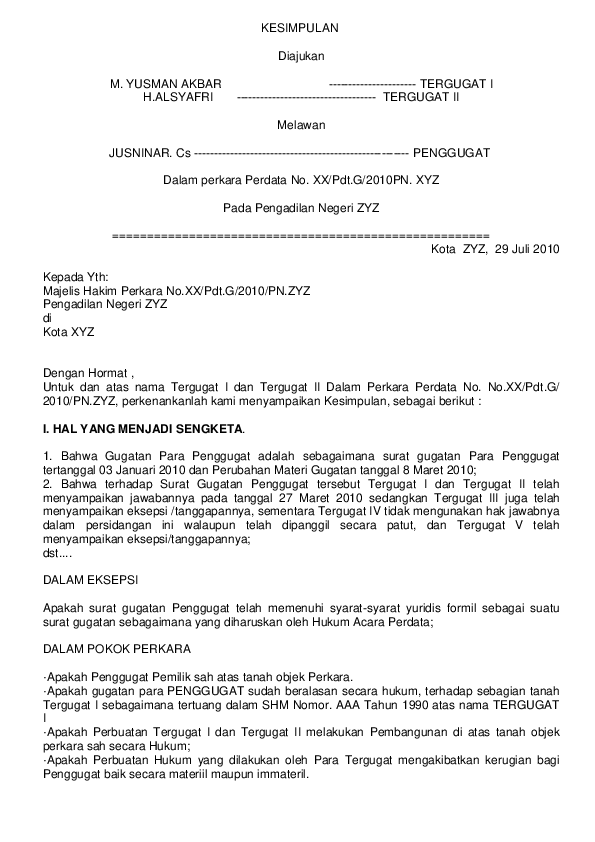 19 Contoh Surat Eksepsi Perdata Lengkap
