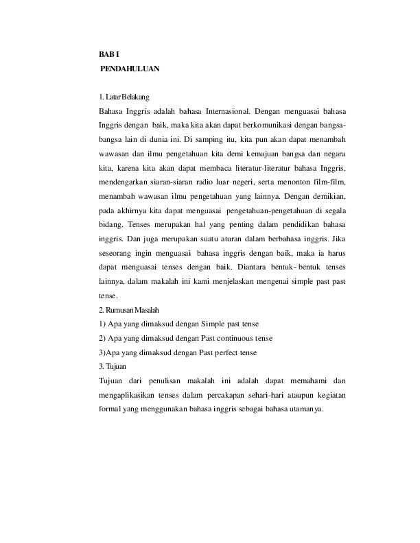 Contoh Makalah Bahasa Inggris Simple Past Tense