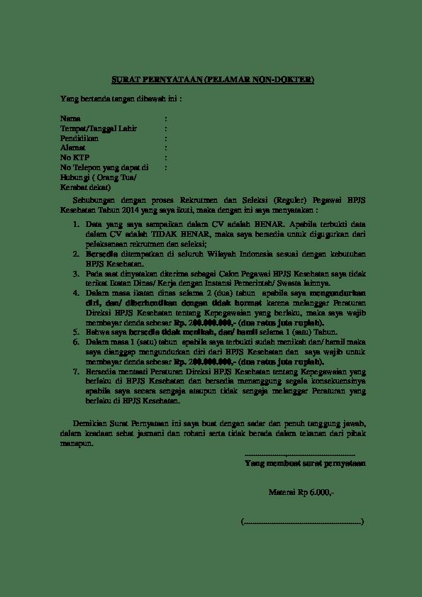 20 Contoh Surat Pernyataan Keikutsertaan Bpjs