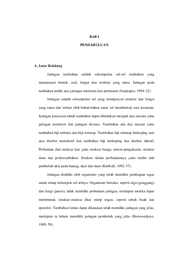 Makalah Jaringan Tumbuhan Contoh Surat