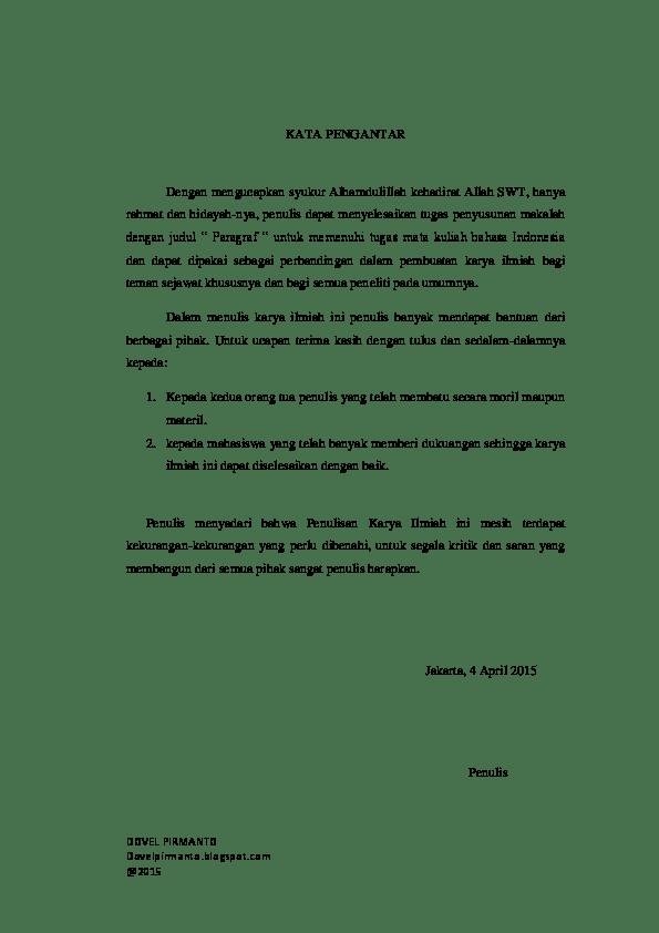 Contoh Kata Pengantar Dalam Skripsi Bahasa Indonesia