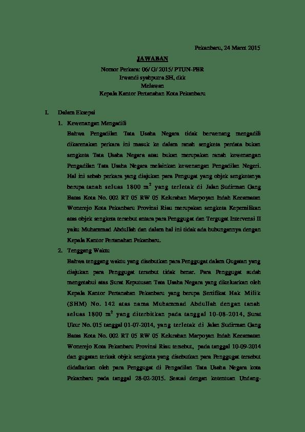 Contoh Surat Eksepsi Ptun Contoh Surat