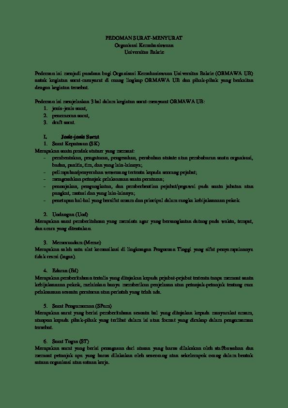 Pdf Pedoman Surat Menyurat Organisasi Kemahasiswaan Universitas