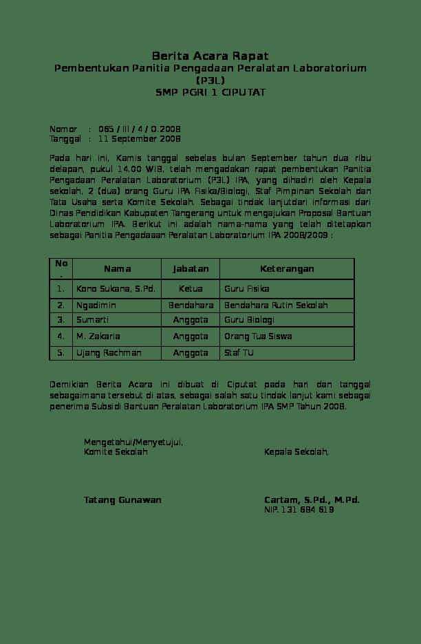 Contoh Surat Berita Acara Rapat Komite Sekolah Download Kumpulan Gambar