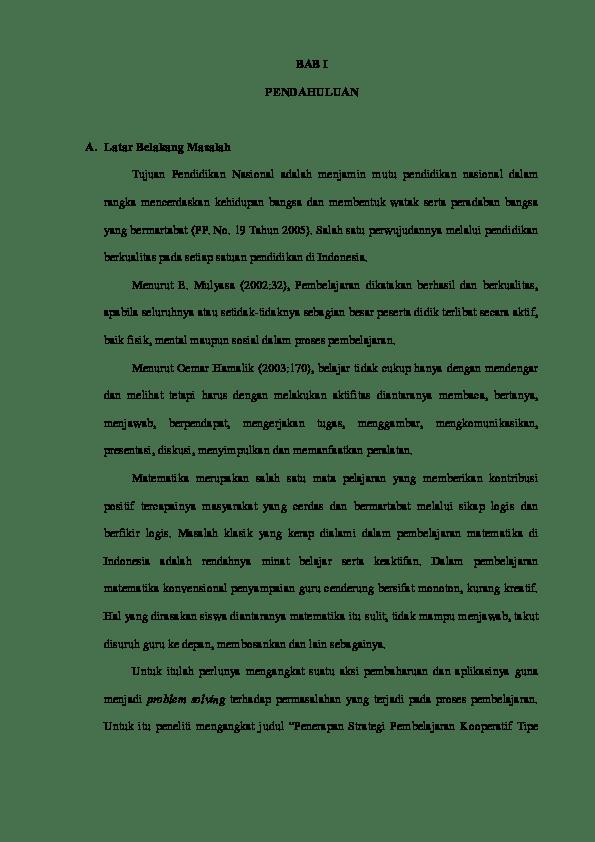 15 Contoh Skripsi Pendidikan Matematika Bab 1