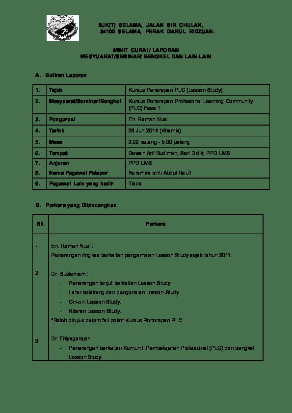 Contoh Laporan Plc Bahasa Melayu