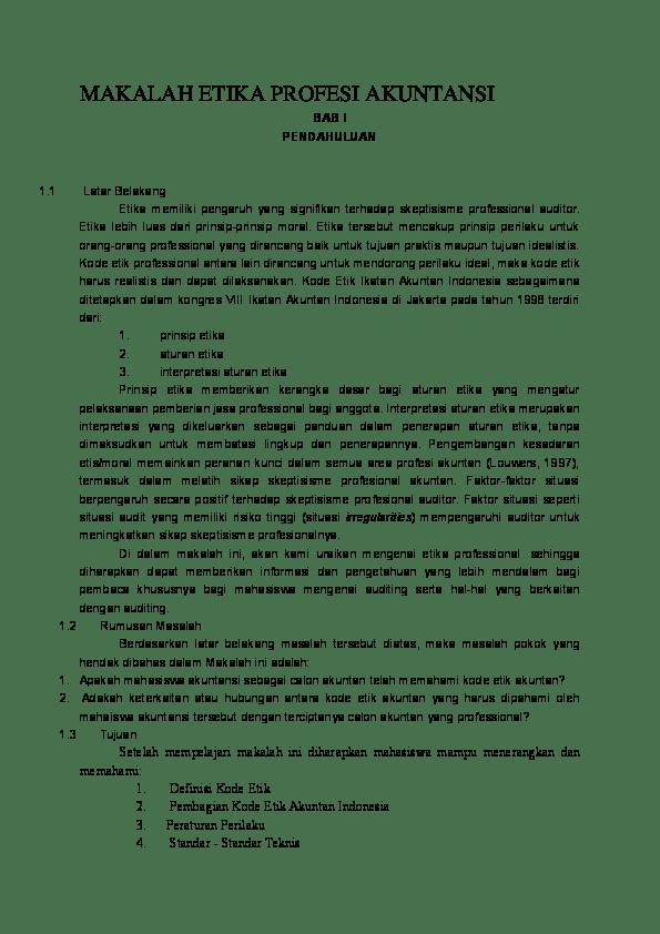 15 Makalah Etika Profesi Akuntan Publik Pdf