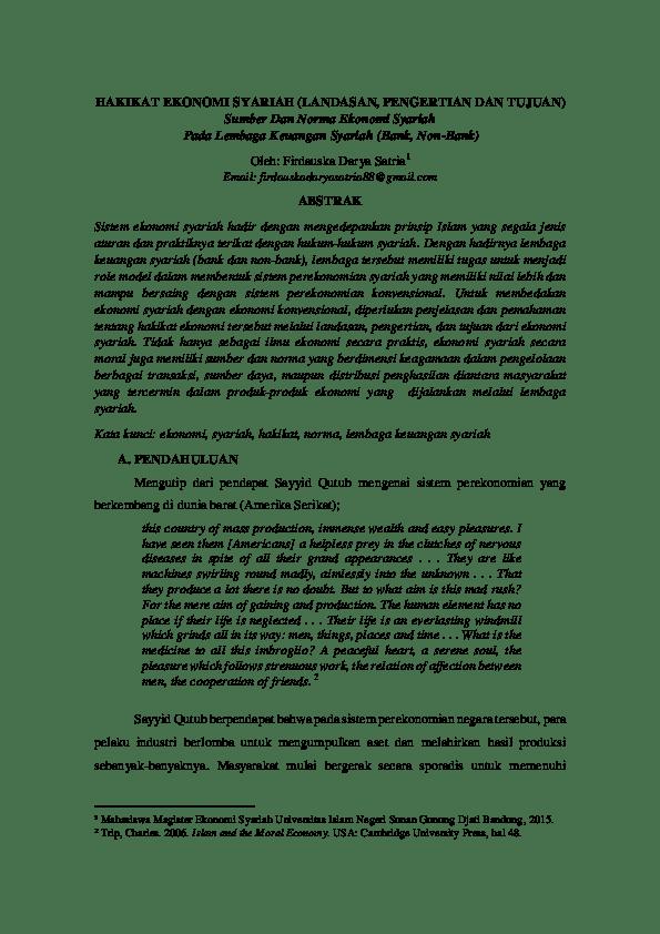 Makalah Sistem Ekonomi Islamsyariah Contoh Surat