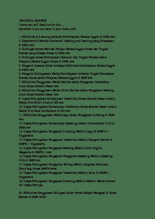 18 Judul Skripsi Sastra Inggris Tentang Film