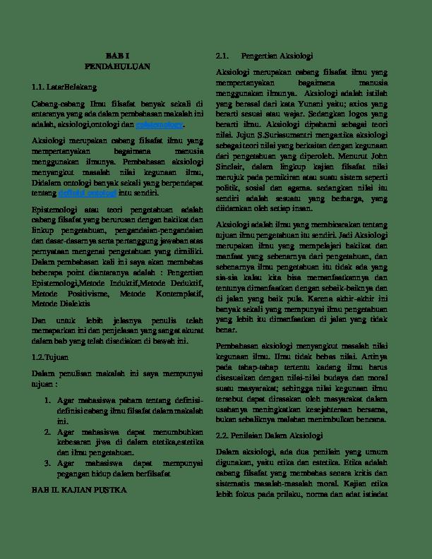 19 Makalah Ontologi Epistemologi Aksiologi Filsafat Pendidikan Islam