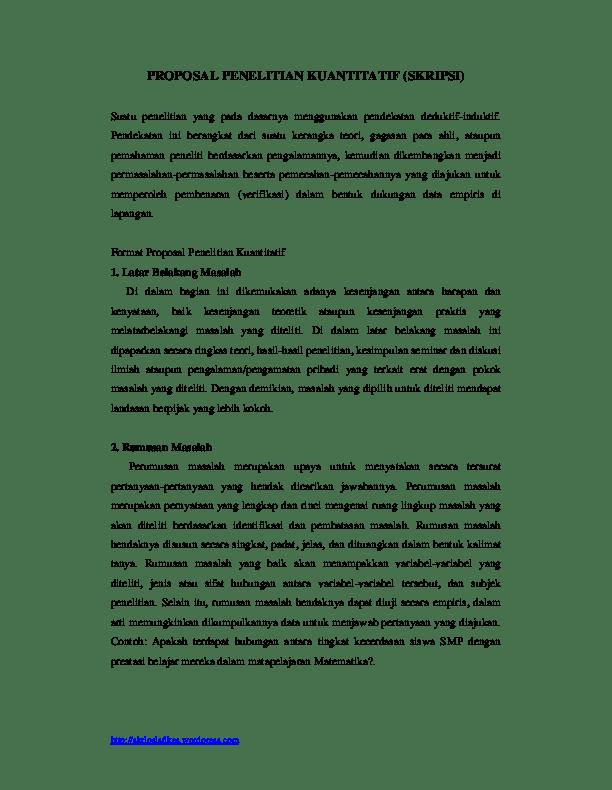 Judul Skripsi Yang Menggunakan Metode Kuantitatif