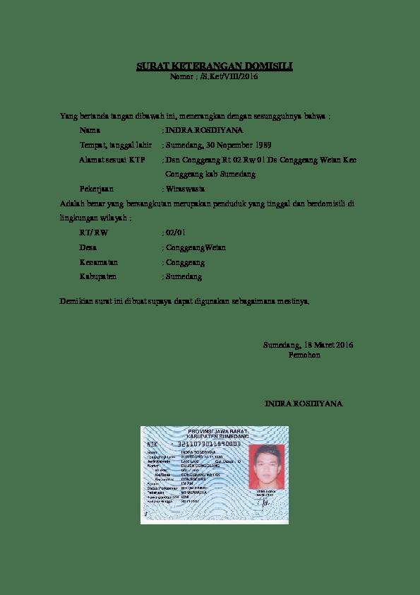 Contoh Surat Domisili Doc Download Kumpulan Gambar