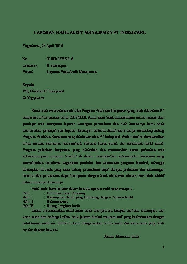 19 Contoh Kasus Laporan Audit Manajemen