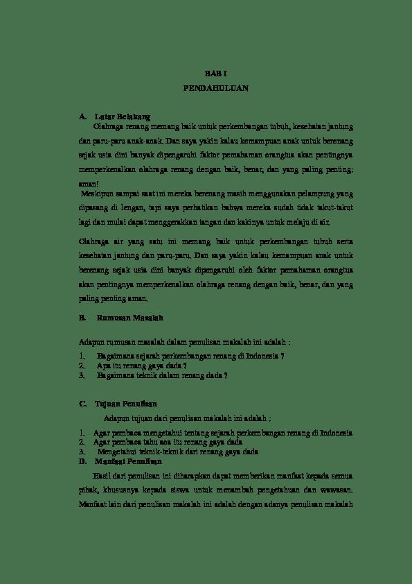 18 Contoh Makalah Renang Gaya Bebas Lengkap