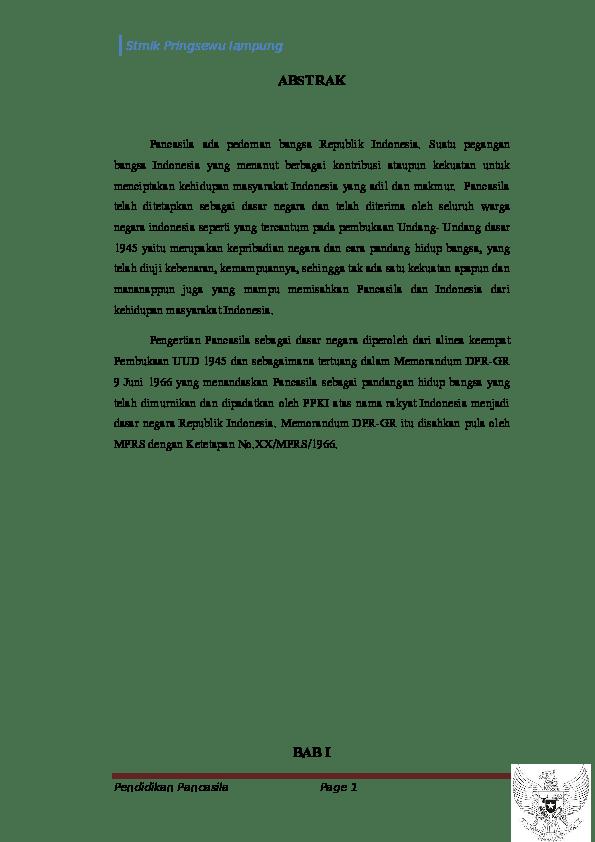 16 Contoh Abstrak Makalah Pancasila
