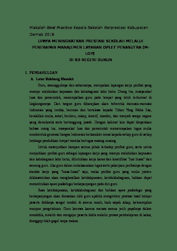 17 Contoh Makalah Best Practice Kepala Tk