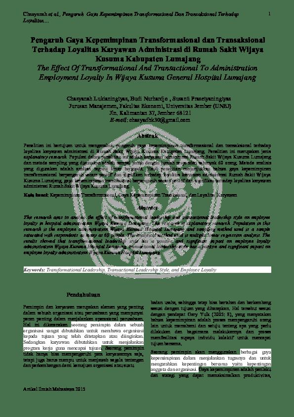 16 Skripsi Gaya Kepemimpinan Transformasional Dan Transaksional
