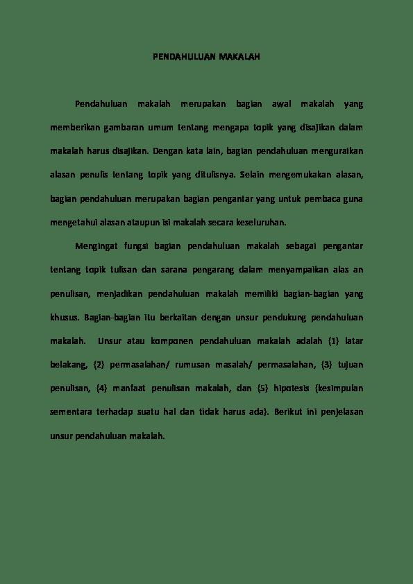 18 Contoh Pendahuluan Makalah Yang Baik Dan Benar