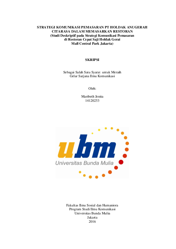 Skripsi Ilmu Komunikasi Kualitatif Pdf