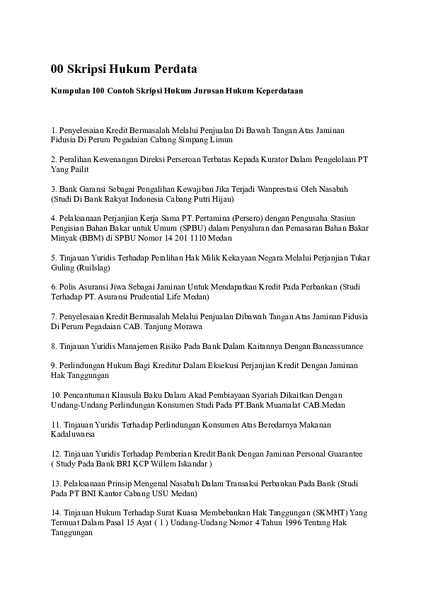 17 Kumpulan Judul Skripsi Hukum Perdata Dagang