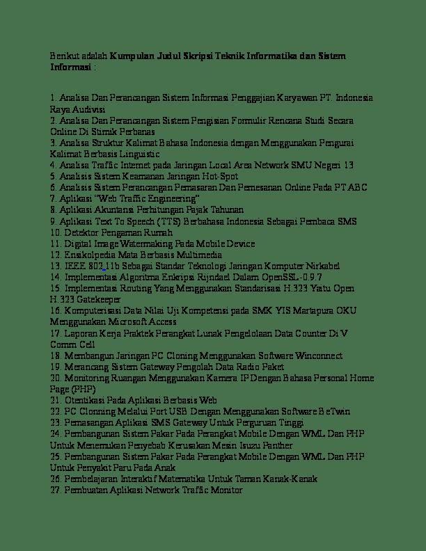 18 Judul Skripsi Teknik Informatika Software Engineering