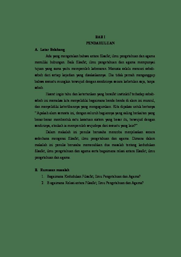 Makalah Filsafat Ilmu Pengetahuan Dan Agama