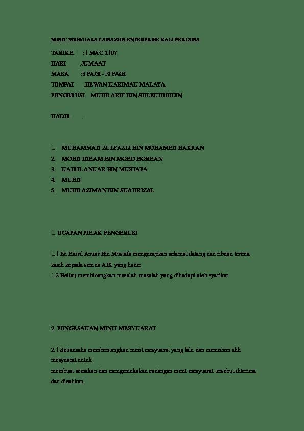 Contoh Minit Mesyuarat Syarikat Sdn Bhd